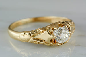 Victorian .55ct Old Mine Cut Diamond Engagement Ring in 14K Gold Belcher Mount RPO798