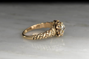 Ornate Victorian Deep Relief Diamond Ring