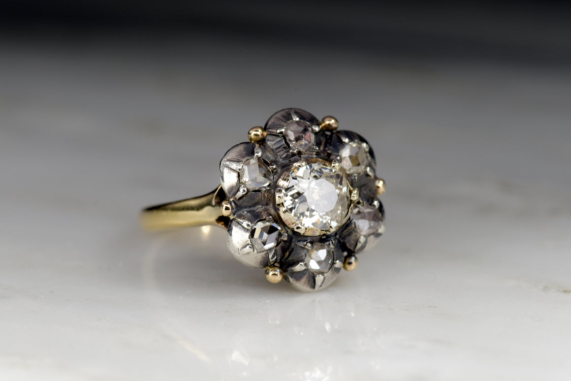 Antique Georgian Old Mine Cut/ Antique Rose Cut Diamond Cluster Women's Ring