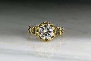 Antique Victorian Engagement Ring with 1.35 Carat Old European Cut Diamond Center in 18K Gold with Black Enamel