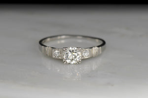 Late Deco / Retro Old European Cut Diamond Engagement Ring or Stacker