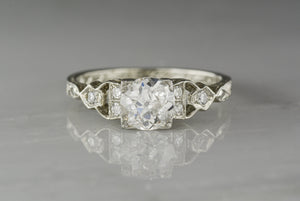 Hand-Engraved Antique Late-Edwardian 18K White Gold Engagement Ring with .92 Carat Old European Cut Diamond
