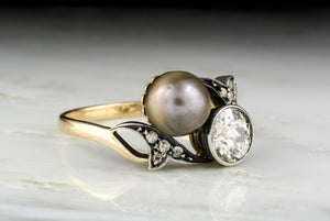 Antique Art Nouveau, Victorian Sun and Moon Old European Cut Diamond and Pearl Anniversary or Fashion Ring