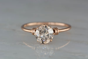 1.60 ct Fancy Light Brown Transitional Old Mine Cut Diamond in Victorian Rose Gold Setting