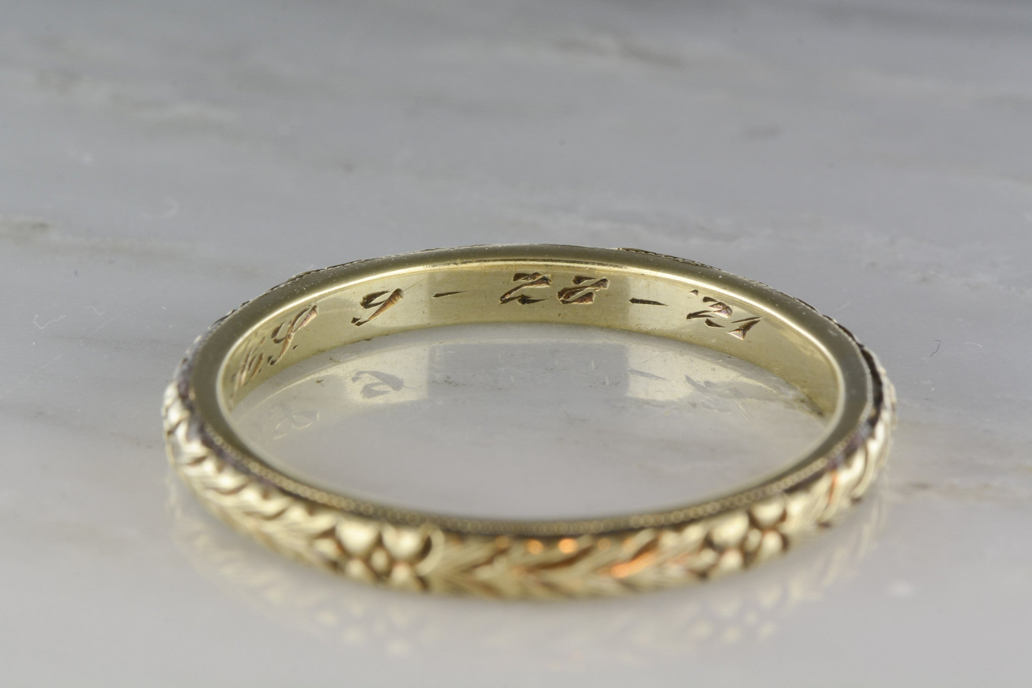 "Antique Men s Late Victorian 14K Gold Wedding Band Engraved ""9 28"