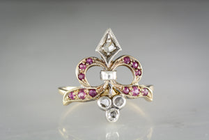 c. 1880s Victorian Gold, Silver, Diamond, and Ruby Fleur-Des-Lis Ring