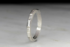 Mid-Century Hand-Inscribed Platinum Wedding Band