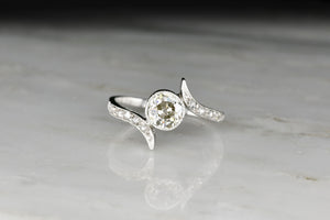 Playful Old European Cut Diamond and Platinum Right-Hand Ring