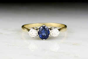 Vintage c. 1940 Retro / Victorian Revival Gold, Platinum, Sapphire, and Diamond Three-Stone Ring