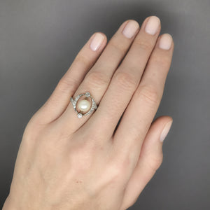 Art Deco / Victorian Revival Pearl and Diamond Cocktail Anniversary Ring