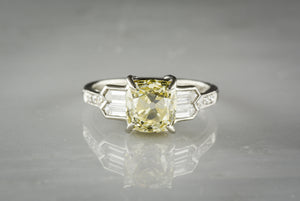 2.06 Carat GIA Old Mine Cut Fancy Light Yellow Diamond in Platinum Art Deco / Retro Revival Engagement Ring