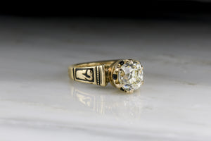 Antique Victorian GIA Certified Old Mine Cushion Cut Diamond Engagement Ring with Black Enamel