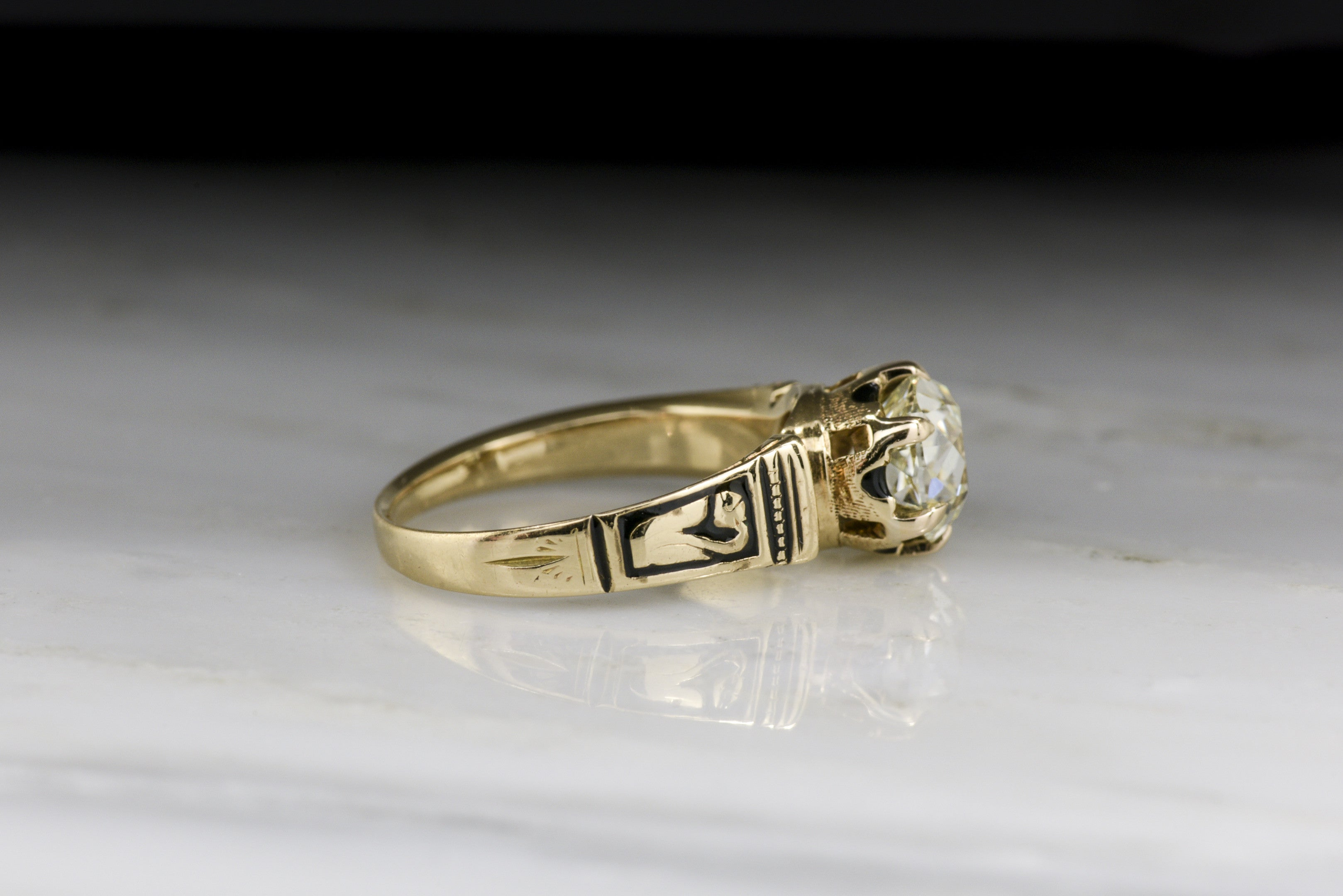 Antique Victorian Engagement Ring: Gia Certified 182 Carat Old Mine  Cushion Cut Diamond In Roseyellow Gold With Black Enamel