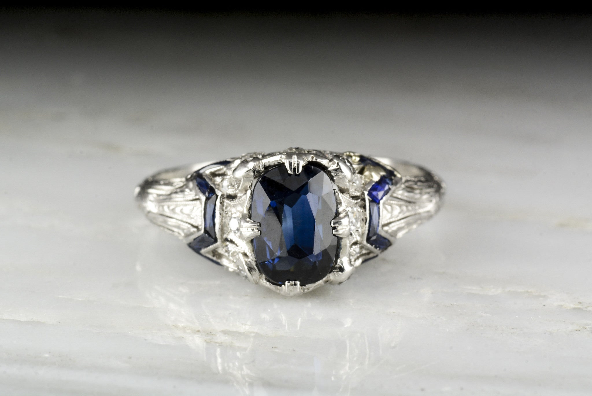 prong engagement diamonds ring double cut cushion solitaire with sapphire blue or products on finger
