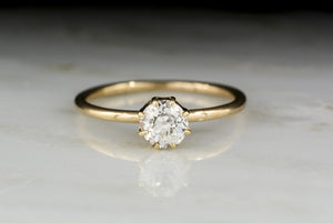 Antique Victorian Eight-Prong Solitaire Rose Gold Engagement Ring with Old Mine Cut Diamond