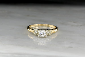 WWII-Era Old European Cut Diamond Ring in Yellow and White Gold