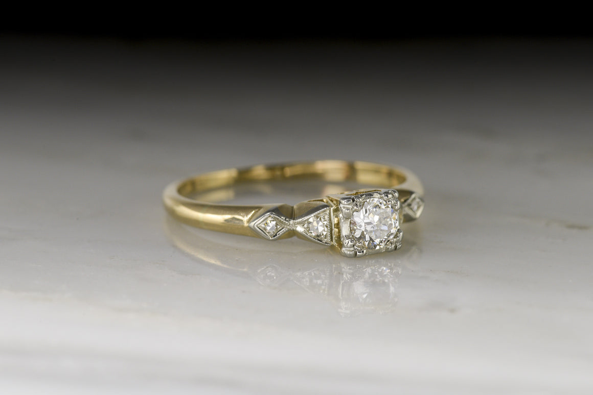 Mid-Century Diamond Engagement, Promise, or Stacking Ring