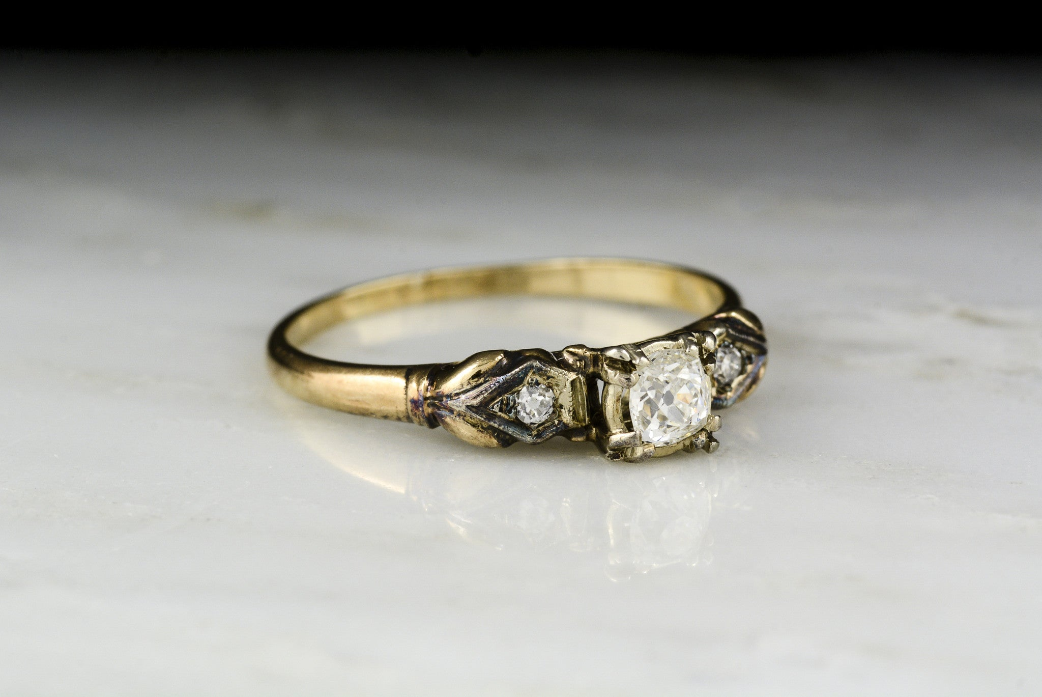 89e934fcbdb91 Vintage c. 1940 Retro/Victorian Revival Rose and White Gold Engagement Ring  with Old Mine Cut Diamond Center