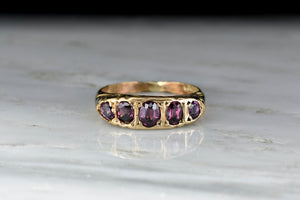 Antique Gold Half Hoop Ring from Chester, England with Oval Cut Garnets