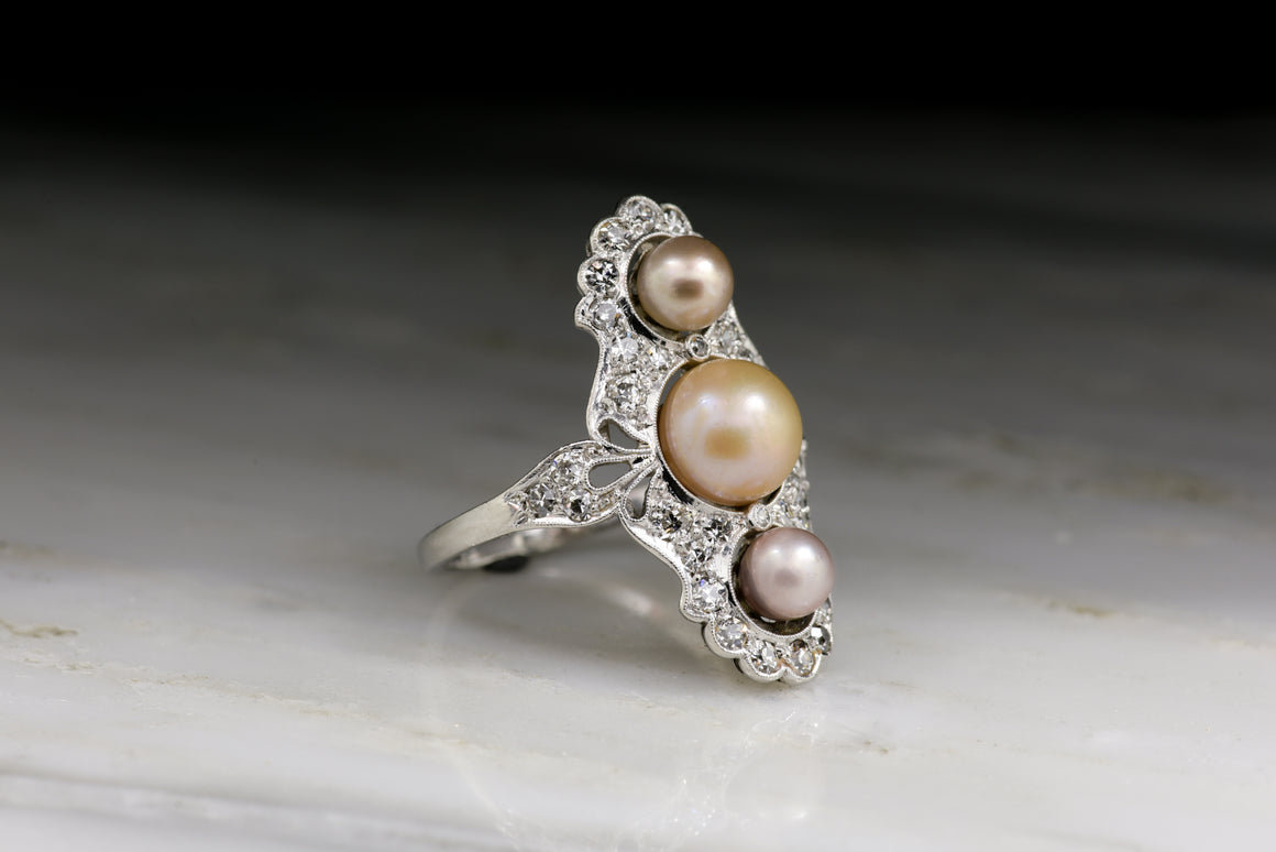 Edwardian Old European Cut Diamond and Pearl Cocktail Ring
