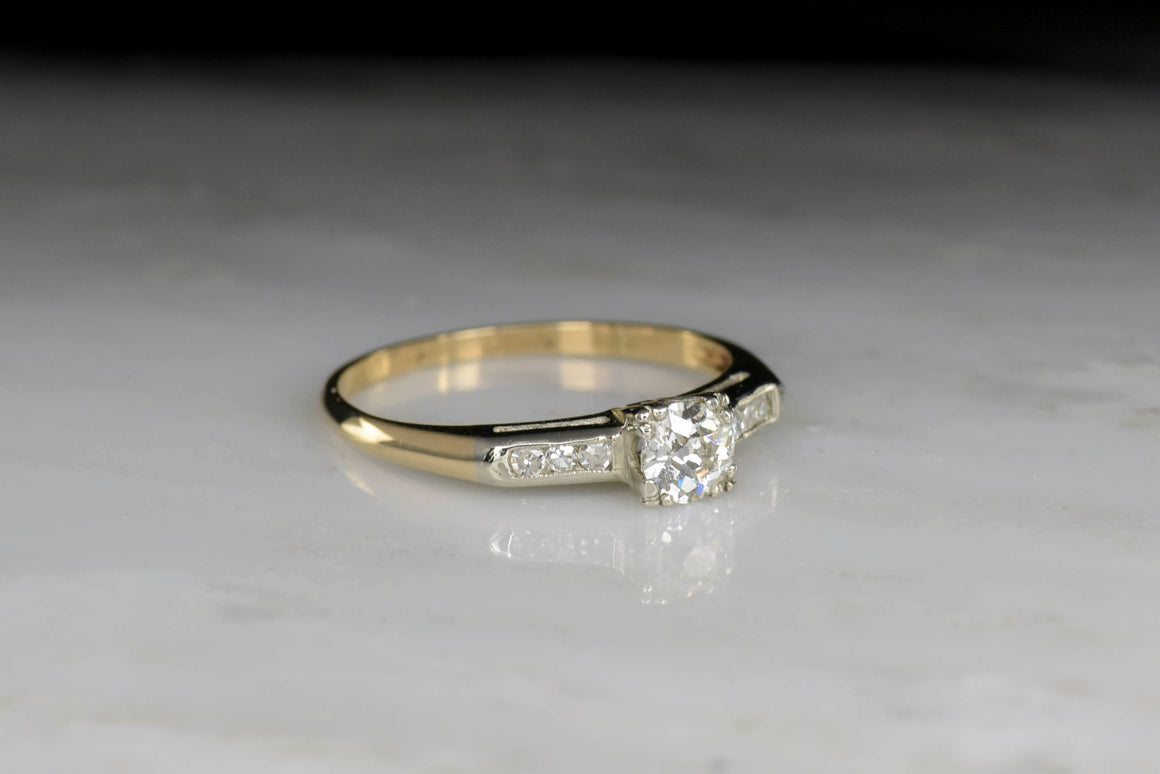Classic Two-Toned Mid-Century Diamond Engagement Ring