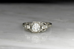 Art Deco Engagement Ring with Buckle and Bow Shoulders