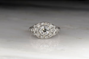 Women's 1930s Art Deco Diamond and Platinum Cocktail Ring