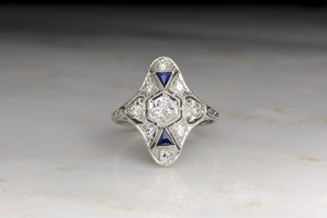 1930s Art Deco Shield / Cocktail Ring with Diamonds and Sapphires in Platinum