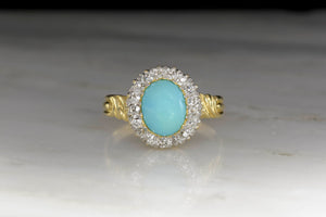 Victorian Antique Mixed-Cut Diamond Halo with a Cabochon Cut Natural Turquoise