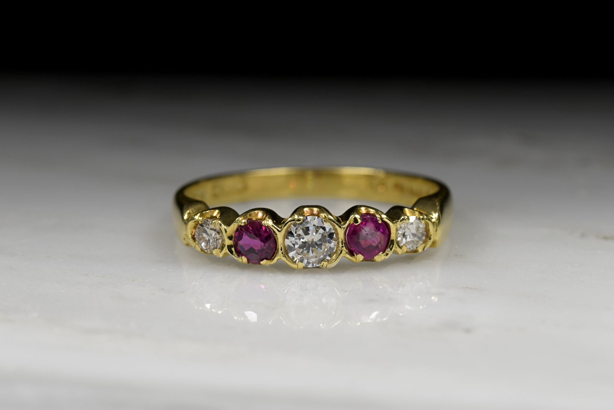 f92049aec Vintage Retro / Mod Round Brilliant Cut Diamond And Ruby Band in 18K Yellow  Gold