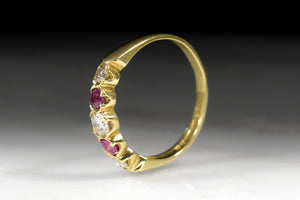 Vintage Wedding Band or Stacking Ring: Vintage Women's Diamond and Ruby Ring