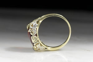 Victorian / Art Nouveau Buff Cut Garnet and Diamond Ring in Yellow and White Gold