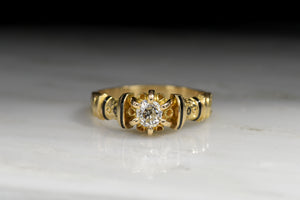 Victorian Old Mine Cut Diamond Gold and Black Enamel Engagement Ring