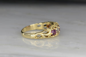 Rare Table Cut Diamond and Ruby Ring with Art Nouveau Shoulders