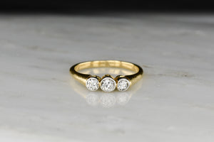 WWII-era / Victorian Revival Three Stone Diamond Bezel Ring