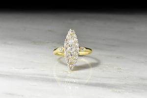 Late 1800s Diamond Cobblestone Navette Ring