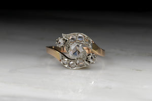 Vintage Women's Victorian Rose Cut Diamond Bypass Ring in 18K Rose Gold
