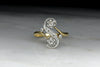 Antique Victorian Bypass Ring with Old Mine Cut Diamonds