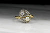 Antique Women's Victorian Old European Cut Diamond and Pearl Bypass Ring