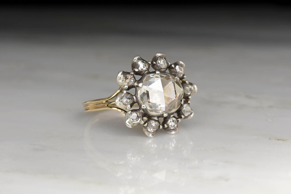 Georgian Antique Rose Cut Diamond and Open Halo Ring in Gold and Silver