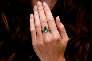 Victorian Pear Cut Emerald and Old Mine Cut Diamond Tiara Ring