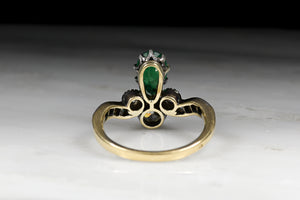Antique Women's Tiara Ring: Pear Cut Emerald and Old Mine Cut Diamonds