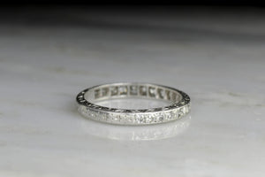 Dated 1926 Hand-Engraved Platinum Semi-Eternity Band