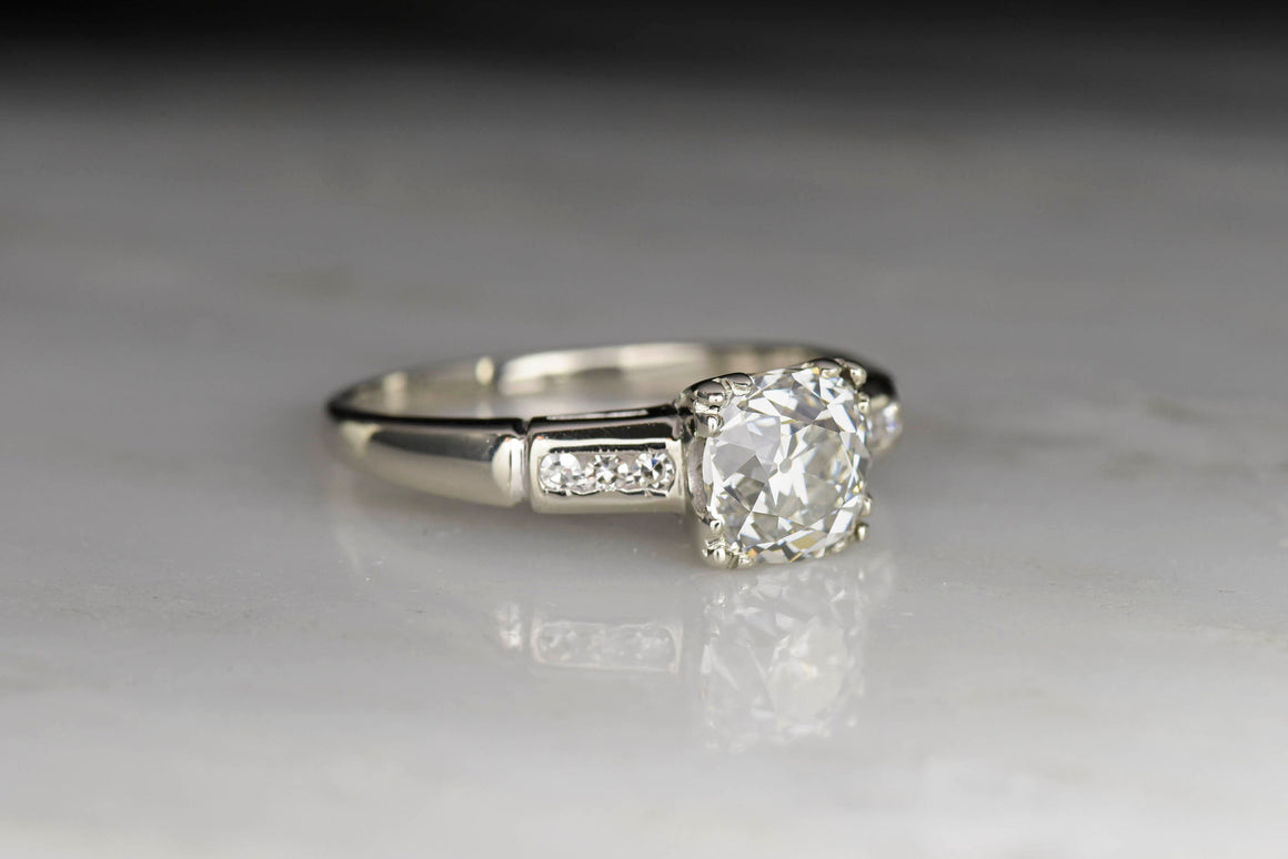 Mid-Century Engagement Ring with a GIA 1.34 Carat Old Mine Cut Diamond Center