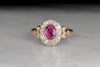 Victorian Pink Tourmaline and Diamond Halo Ring