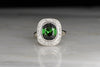 Vintage Retro Women's Right-Hand Tourmaline and Diamond Ring