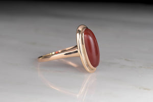 Late Victorian Cabochon Cut Carnelian and Rose Gold Ring