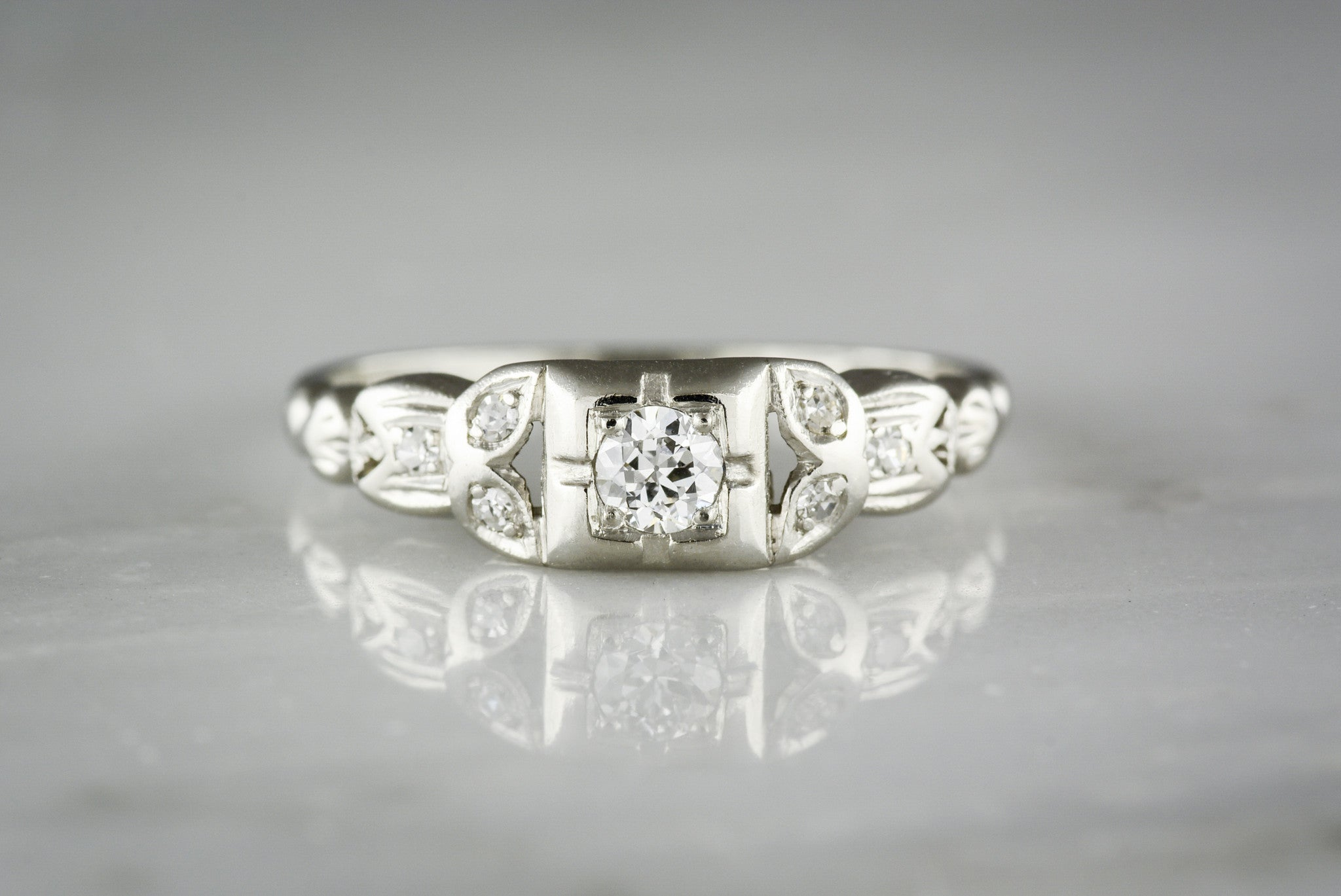 Early  Retro Engagement Ring With Owl Motif