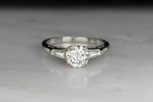 Mid-Century Diamond Engagement Ring with Tapered Baquette Cut Shoulders
