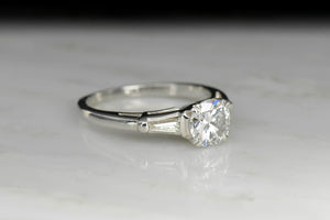 Mid-Century Diamond Engagement Ring with Tapered Baguette Cut Shoulders